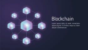 Blockchain do conceito de projeto e tecnologia lisos do cryptocurrency Composição para a bandeira do Web site do projeto da dispo ilustração stock