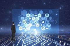 Blockchain e conceito do holograma Fotos de Stock Royalty Free