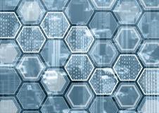 Blockchain eller blå och grå bakgrund för digitization med den sexhörniga formade modellen royaltyfria foton