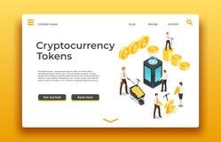 Blockchain en cryptocurrencylandingspagina Isometrische mensen die muntstukken ontginnen vectorwebontwerp royalty-vrije illustratie