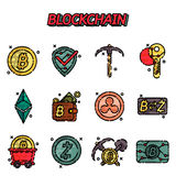 Blockchain flat icons set. Cryptocurrency theme. Vector illustration, EPS 10 Royalty Free Stock Photography