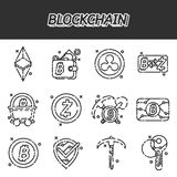 Blockchain flat icons set. Cryptocurrency theme. Vector illustration, EPS 10 Royalty Free Stock Photos