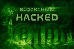 Blockchain hackade den abstrakta illustrationen 3d vektor illustrationer