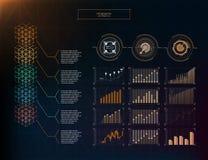 Blockchain hud infographic. set info. Eps 10 future black  orange color Royalty Free Stock Image