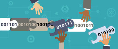 Blockchain. Human hands connecting blocks of data in a blockchain, EPS 8 vector illustration Stock Photos