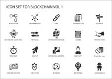 Blockchain icon set vector illustration