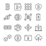 Blockchain, iconos de Cryptocurrency fijados ilustración del vector