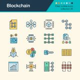 Blockchain icons. Filled outline design collection 36. For prese. Ntation, graphic design, mobile application, web design, infographics. Vector illustration Royalty Free Stock Images