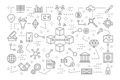 Blockchain icons set. Line illustrations of fintech Royalty Free Stock Image