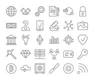 Blockchain icons set. Linear illustrations of fintech Stock Photos