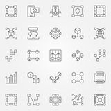 Blockchain icons set. Vector cryptography block chain concept. Blockchain icons set. Vector cryptography block chain concept symbols or design elements in thin Royalty Free Stock Images