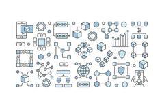 Blockchain idérikt baner - vektorkvarter-kedja teknologi stock illustrationer