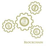 Blockchain Illustratie van de digitale overdracht van het Webgeld Toestelverstand vector illustratie