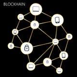 Blockchain Illustration in flat design. Blockchain Illustration on Black background Royalty Free Stock Image