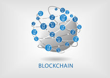 Blockchain  illustration with connected globe on light grey background Stock Photos