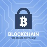 Blockchain illustration with tittle on chipset background. Bitcoin sign on lock image. Royalty Free Stock Photography