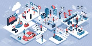 Blockchain, internet of things and lifestyle. People using connected devices and touch screen interfaces, robots and smart industry vector illustration