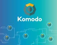 Blockchain komodo symbol technology circuit background. Vector illustration Royalty Free Stock Photos
