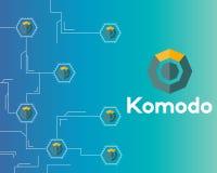 Blockchain komodo symbol technology circuit background. Vector illustration Stock Photos