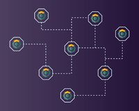Blockchain komodo symbol technology networking background. Vector illustration Stock Photography
