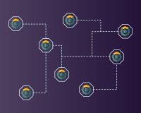 Blockchain komodo symbol technology networking background. Vector illustration Royalty Free Stock Photos