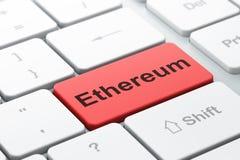 Blockchain-Konzept: Ethereum auf Computertastaturhintergrund Stockfoto