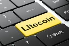 Blockchain-Konzept: Litecoin auf Computertastaturhintergrund Stockbilder