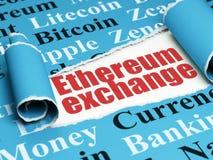 Blockchain-Konzept: roter Text Ethereum-Austausch unter dem Stück des heftigen Papiers Lizenzfreie Stockbilder