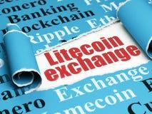 Blockchain-Konzept: roter Text Litecoin-Austausch unter dem Stück des heftigen Papiers Lizenzfreie Stockfotografie