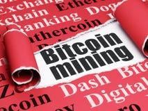 Blockchain-Konzept: schwarzer Text Bitcoin-Bergbau unter dem Stück des heftigen Papiers Lizenzfreies Stockfoto