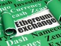 Blockchain-Konzept: schwarzer Text Ethereum-Austausch unter dem Stück des heftigen Papiers Stockfotos