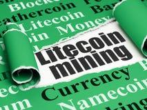 Blockchain-Konzept: schwarzer Text Litecoin-Bergbau unter dem Stück des heftigen Papiers Stockbilder