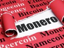Blockchain-Konzept: schwarzer Text Monero unter dem Stück des heftigen Papiers Stockbild