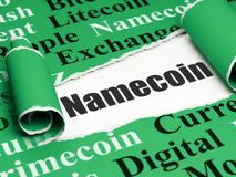 Blockchain-Konzept: schwarzer Text Namecoin unter dem Stück des heftigen Papiers Stockfotos