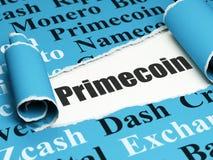 Blockchain-Konzept: schwarzer Text Primecoin unter dem Stück des heftigen Papiers Lizenzfreie Stockfotos