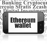 Blockchain-Konzept: Smartphone mit Ethereum-Geldbörse auf Anzeige Lizenzfreies Stockbild