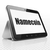Blockchain-Konzept: Tablet-Computer mit Namecoin auf Anzeige Lizenzfreie Stockfotografie