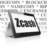 Blockchain-Konzept: Tablet-Computer mit Zcash auf Anzeige Lizenzfreies Stockbild