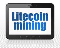 Blockchain-Konzept: Tablet-PC-Computer mit Litecoin-Bergbau auf Anzeige Stockbilder