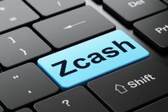 Blockchain-Konzept: Zcash auf Computertastaturhintergrund Lizenzfreies Stockfoto