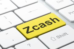 Blockchain-Konzept: Zcash auf Computertastaturhintergrund Lizenzfreie Stockfotografie