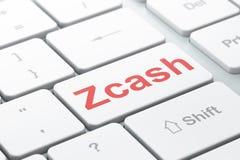Blockchain-Konzept: Zcash auf Computertastaturhintergrund Stockbilder