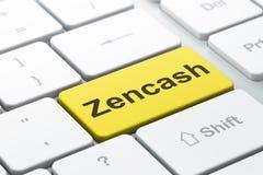 Blockchain-Konzept: Zencash auf Computertastaturhintergrund Lizenzfreies Stockfoto
