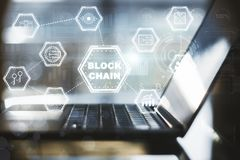 Blockchain-Laptopschnittstelle Lizenzfreies Stockfoto