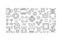 Blockchain line banner. Vector block-chain technology concept. Blockchain line banner. Vector minimal block-chain technology concept illustration Stock Photos
