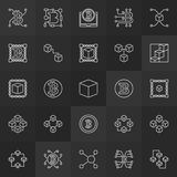 Blockchain linear icons - vector 25 block-chain signs. Blockchain technology linear icons - vector 25 block-chain minimal outline symbols or logo elements on Stock Images