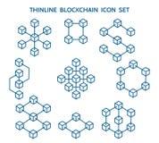 Blockchain linje symboler stock illustrationer