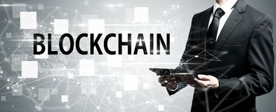 Blockchain with man holding tablet computer Stock Photography