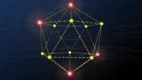 Blockchain model 4k. A schematic 3d model of a Blockchain transferring data stock video footage