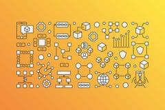 Blockchain modern banner - vector block-chain technology. Concept illustration on yellow background Royalty Free Stock Photos